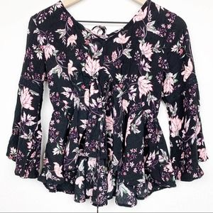 American Rag Boho Floral Lace Up Top Bell Sleeves